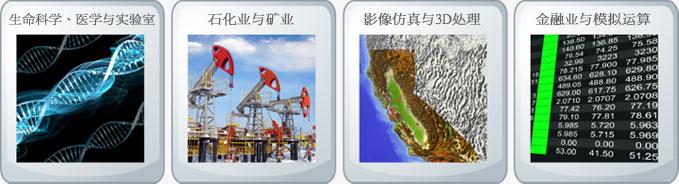 主攻市场: (1) 生命科学、医学与实验室 (2)石化业与矿业 (3) 影像仿真与3D处理 (4) 金融业与模拟运算