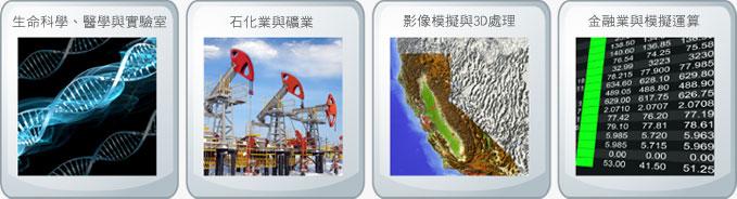 主攻市場:(1) 生命科學、醫學與實驗室 (2)石化業與礦業 (3) 影像模擬與 3D 處理 (4) 金融業與模擬運算